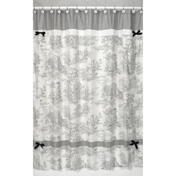 Sweet Jojo Designs Black French Toile Shower Curtain Free