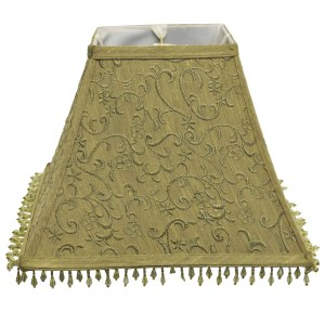 Square Olive French Embroidered Beaded Shade
