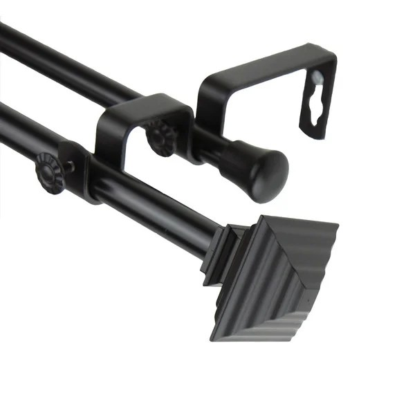 InStyleDesign Black Square Adjustable Double Curtain Rod Free