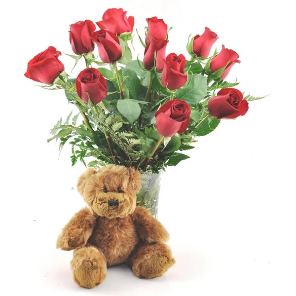 Valentines Day Pre Order One Dozen Red Roses With Plush