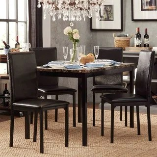 modern kitchen sets different types of countertops buy contemporary dining room online at darcy faux marble top black metal 5 piece casual set by inspire q bold