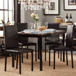 kitchen tables sets countertop cost buy dining room online at overstock com our best darcy faux marble top black metal 5 piece casual set by inspire q bold