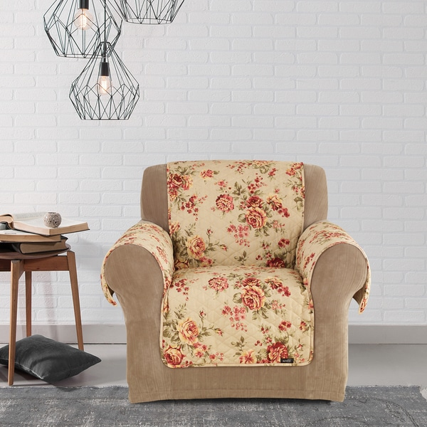 chair covers overstock steel joints shop sure fit lexington floral furniture friend cover - free shipping on orders over $45 ...