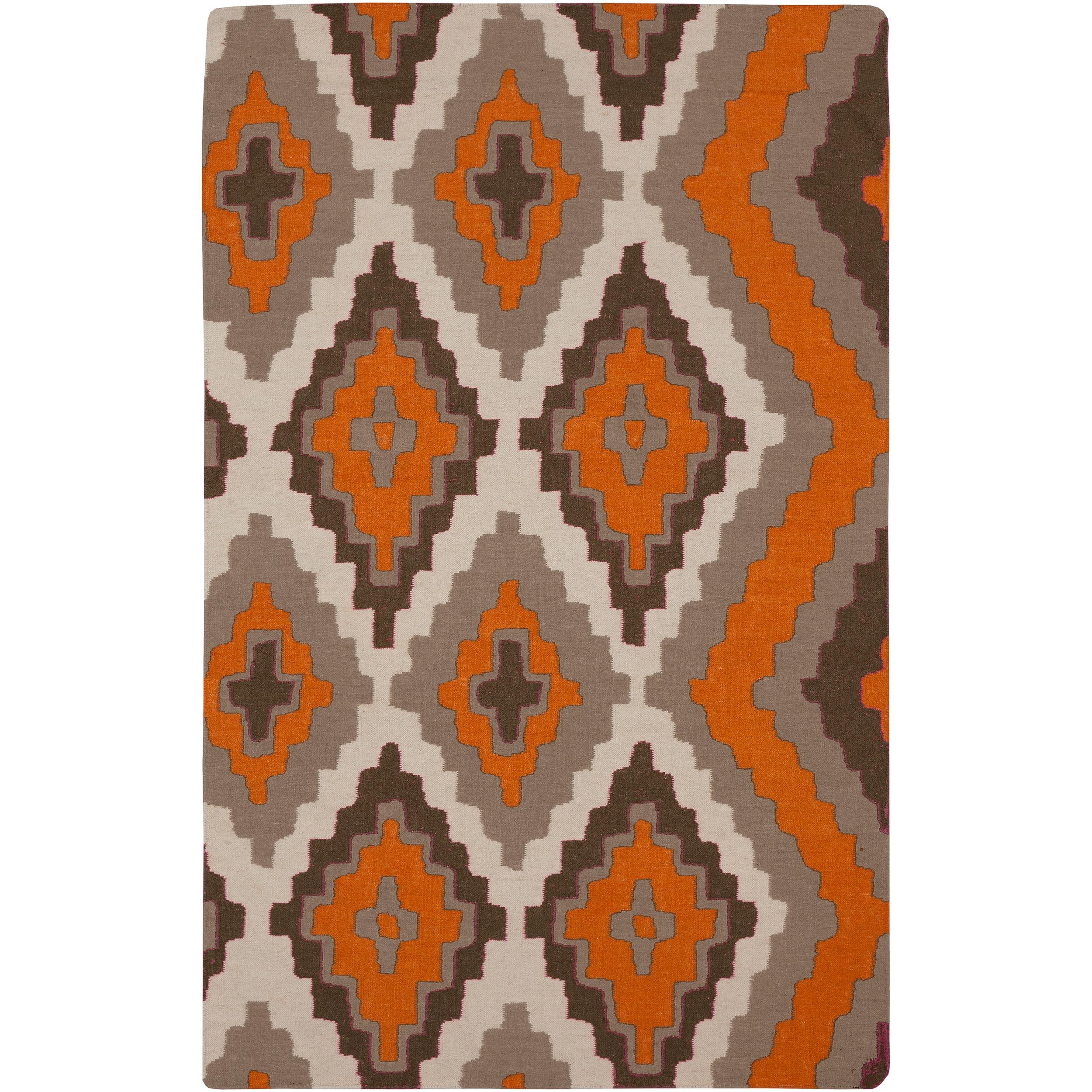 Hand-woven Adelard Flatweave Reversible Pumpkin Wool Area Rug (2' x 3')