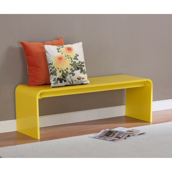 Shop Contemporary Lemon Yellow Wood Bench Free Shipping