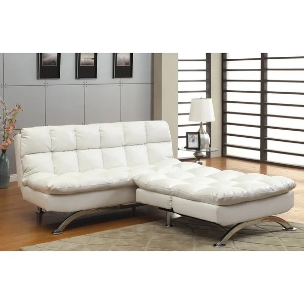 futon and chair set eames molded plastic shop furniture of america modern 2 piece white leather