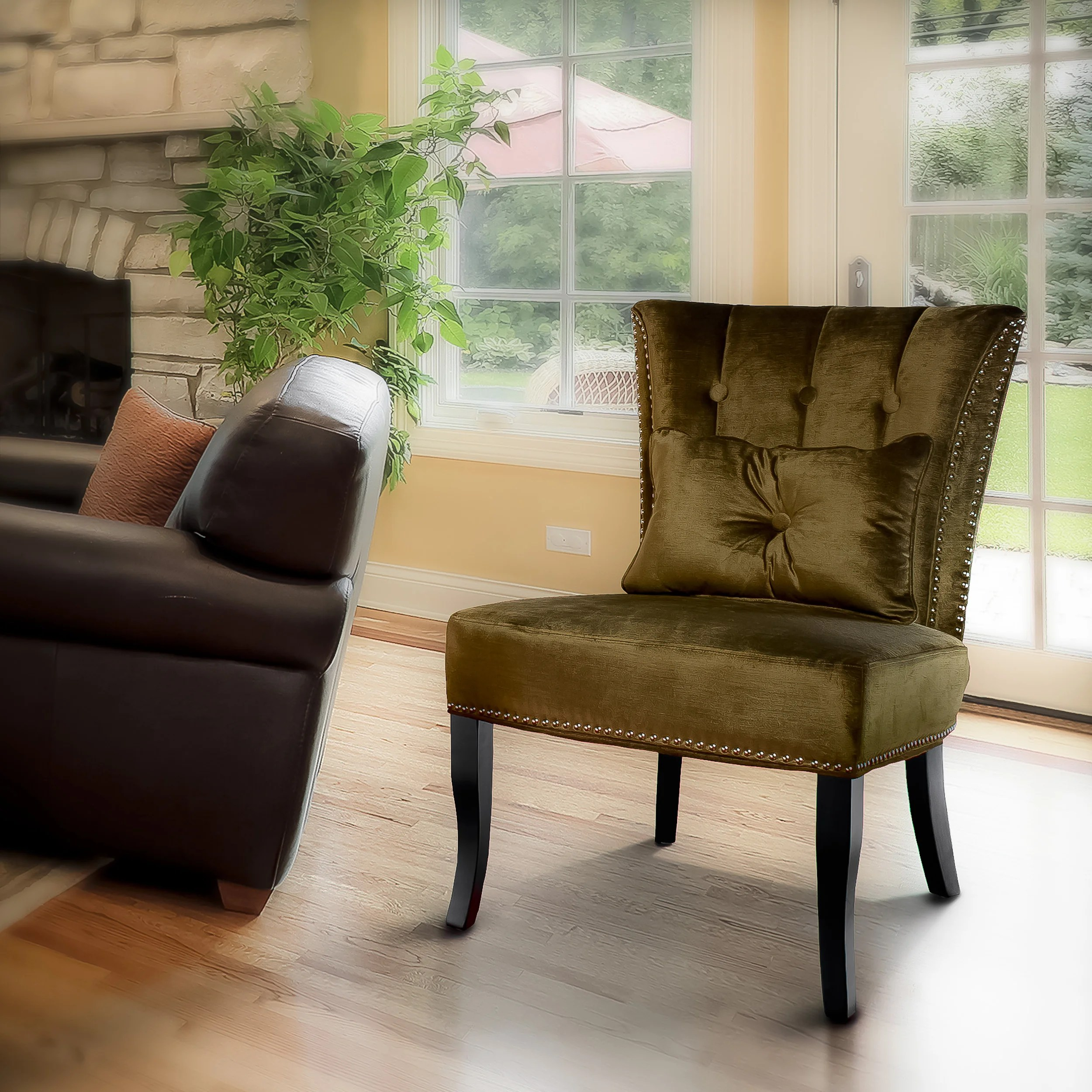 olive green velvet accent chair white wedding covers hire 14011154 overstock
