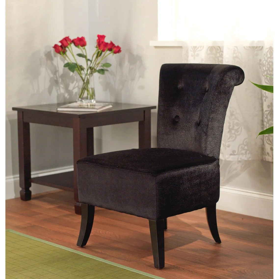 Overstock Chairs Simple Living Anna Black Velvet Accent Chair Free