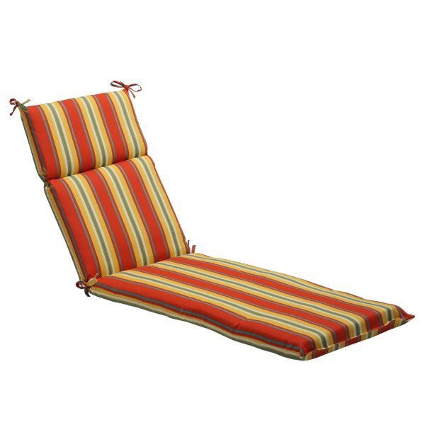 Pillow Perfect Orange Yellow Striped Outdoor Chaise Lounge Cushion - Shopping Big