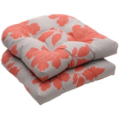 Grey Chair Cushions Bamboo Chairs With Cushion Outdoor Gray Coral Floral Wicker Seat Set Of 2
