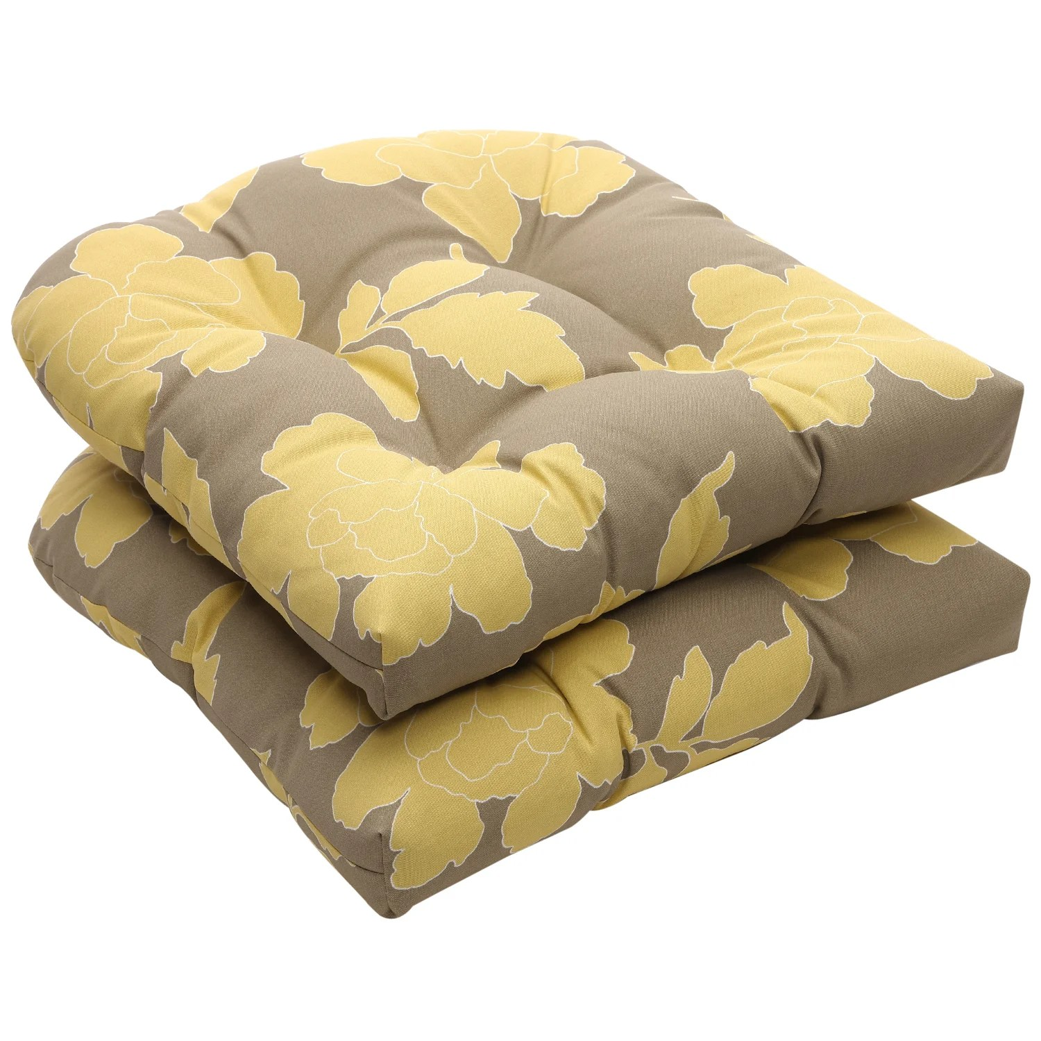 Gray Chair Cushions Outdoor Gray And Yellow Floral Wicker Seat Cushions Set