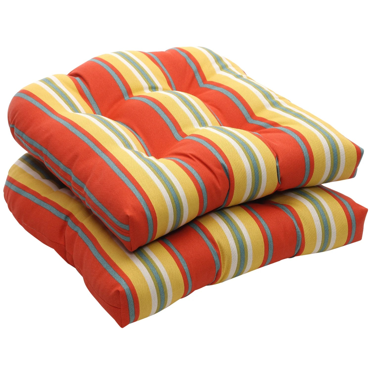 orange wicker chair cushions bedside commode outdoor and yellow stripe seat set
