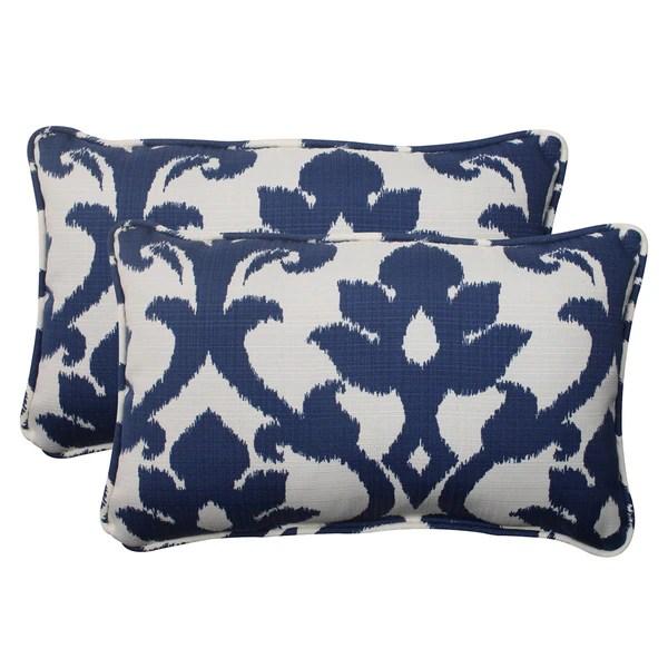 Shop Pillow Perfect Navy Outdoor Throw Pillows Set of 2