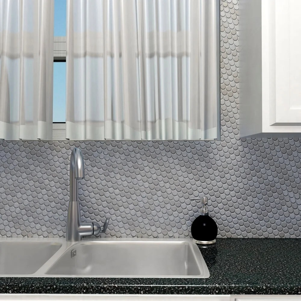 somertile 11 75x11 75 inch penny stainless steel over ceramic mosaic wall tile