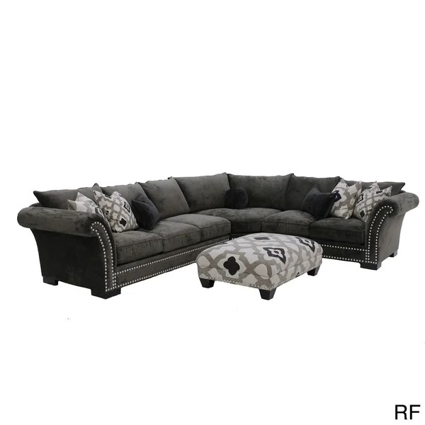 abbyson leather sofa reviews l shaped wooden set design cambria 3-piece grey nail head fabric oversized sectional ...