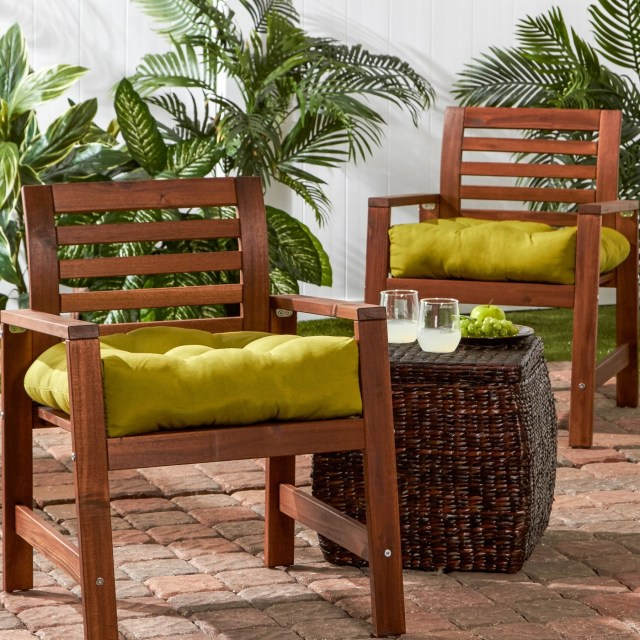 shop greendale home fashions outdoor solid chair cushion (set of 2