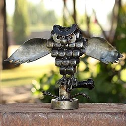 overstock kitchen cabinets pantry furniture shop recycled metal 'rustic horned owl' sculpture (mexico ...