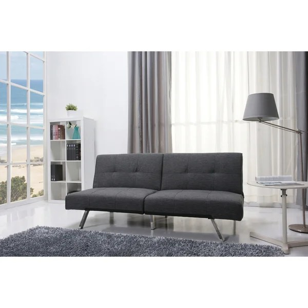 Shop Jacksonville Gray Fabric Futon Sleeper Sofa Bed