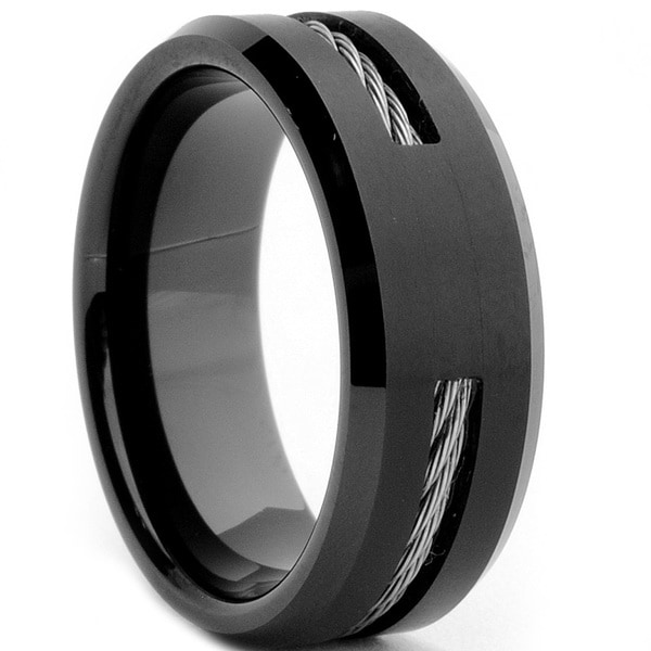Tungsten Carbide Black Plated Steel Cable Inlay Ring