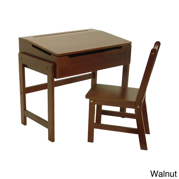 Shop Childs Slanted Top Solid Wood Desk and Chair  Free