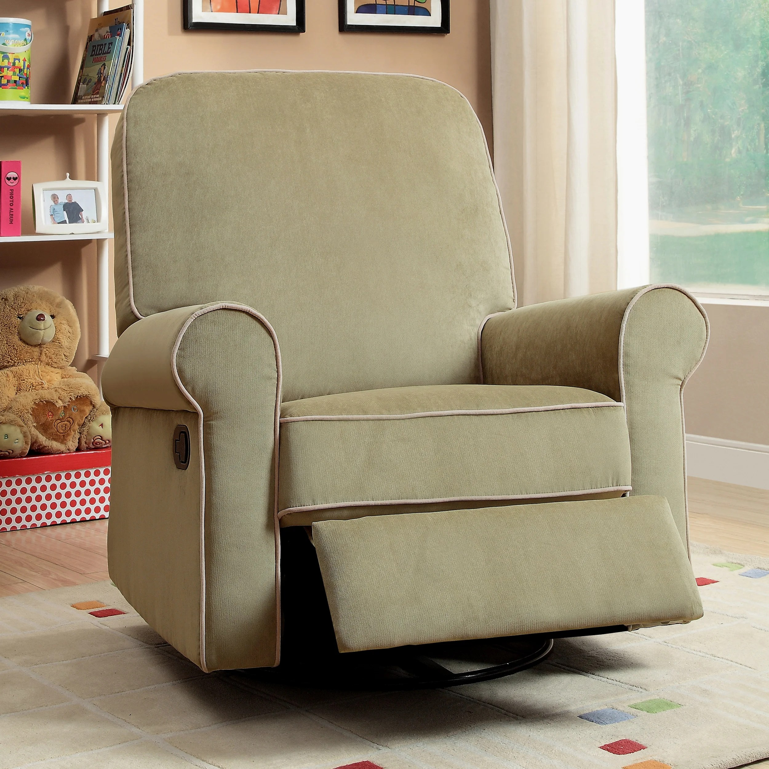Overstock Rocking Chairs Madison Moss Green Fabric Nursery Swivel Glider Recliner