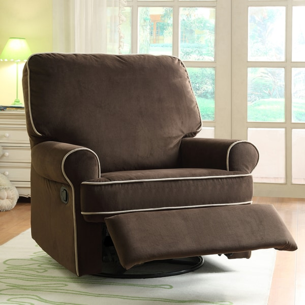 toddler foam chair chairs made from pallets shop ella brown fabric nursery swivel glider recliner - on sale free shipping today ...