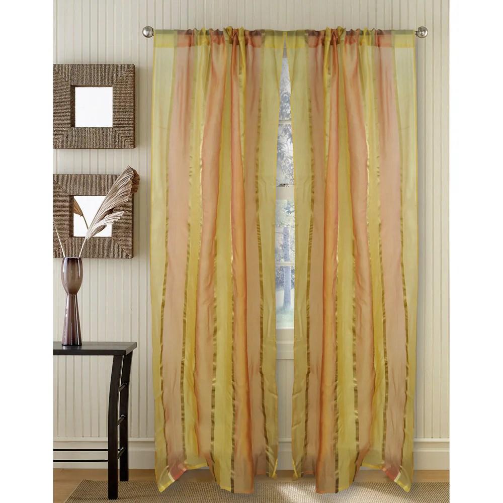 golden silk organza 95 inch curtain panel
