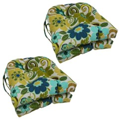 Patio Chair Pads Herman Miller Office Chairs Costco Shop Blazing Needles Floral Stripe U Shaped 16 Inch Outdoor Cushions Set Of 4 On Sale Free Shipping Today Overstock Com 7946451