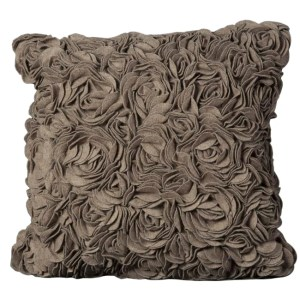 Mina Victory Light Brown Wool Felt FloralPillow by Nourison (20-Inch X 20-Inch)