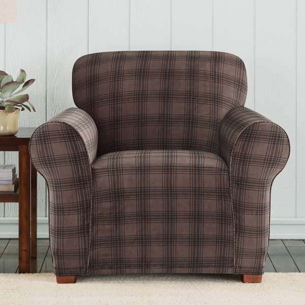 stretch dining chair covers steelcase amia adjustments shop sure fit belmont chocolate plaid ...