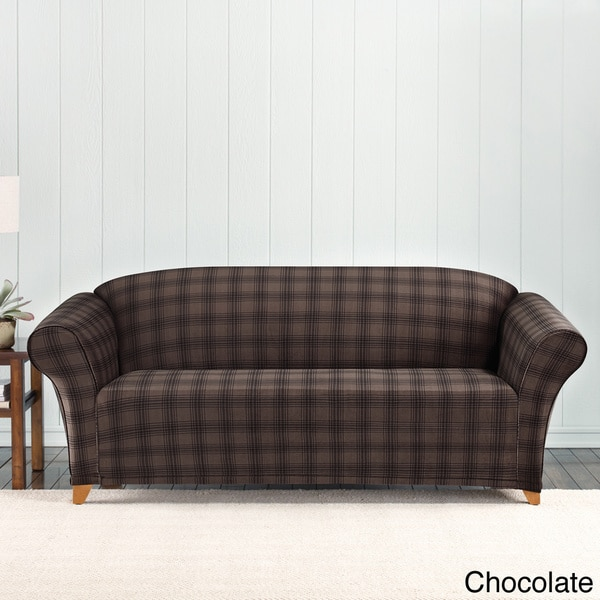 home goods sofa covers broyhill mad sure fit stretch belmont plaid slipcover - free ...