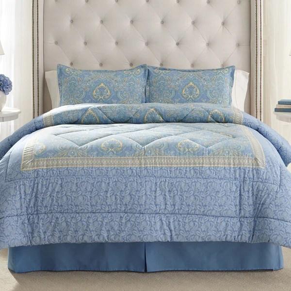 Laura Ashley Prescot Cotton 4piece Comforter Set  Free