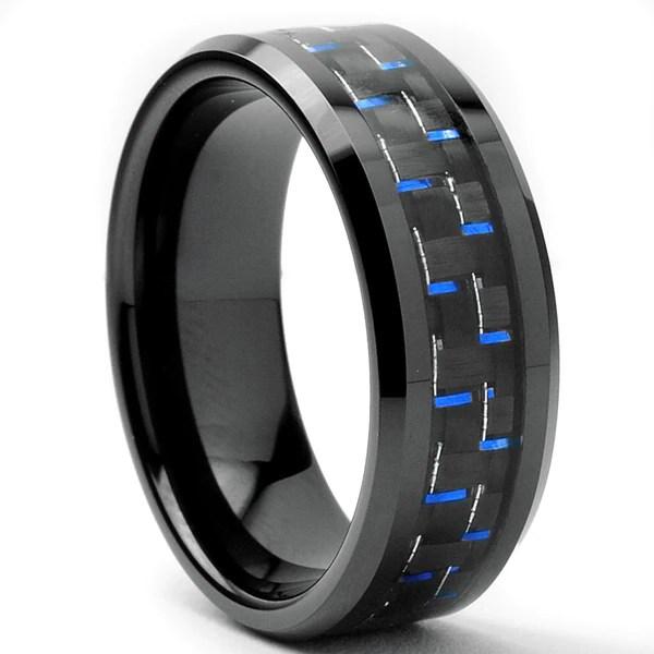 Tungsten Carbide Mens Black And Blue Carbon Fiber Inlay
