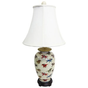 Jockey Design 1-light Round Porcelain Table Lamp - Multi