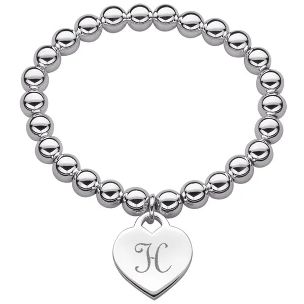 Shop Silverplated Heart Initial Charm and Bead Stretch