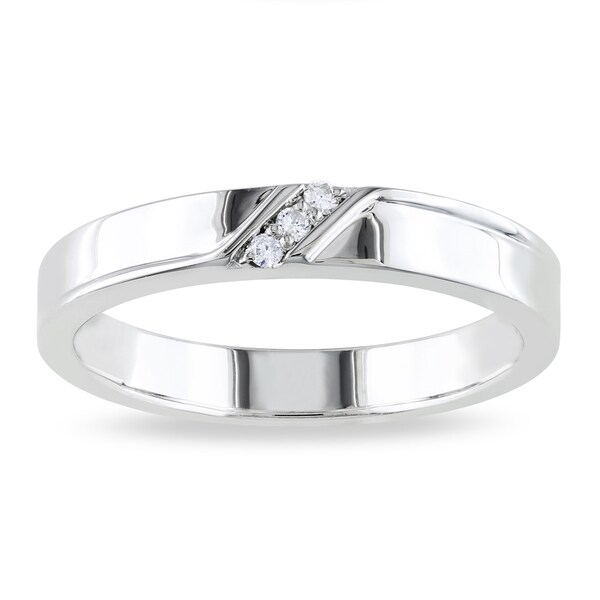 Shop Miadora Sterling Silver Mens Diamond Accent 3stone Wedding Band Ring  On Sale  Free