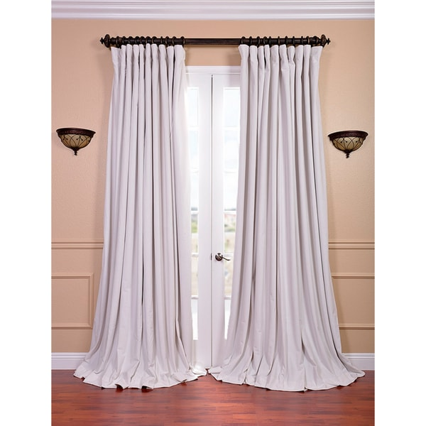 Exclusive Fabrics Off White Velvet Blackout Extra Wide Curtain