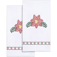 """Shop Stamped White Decorative Hand Towel 17""""X28"""" One Pair ..."""
