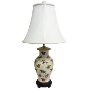 Jocket Patterned 1-light Fishtail Porcelian Lamp - Multi