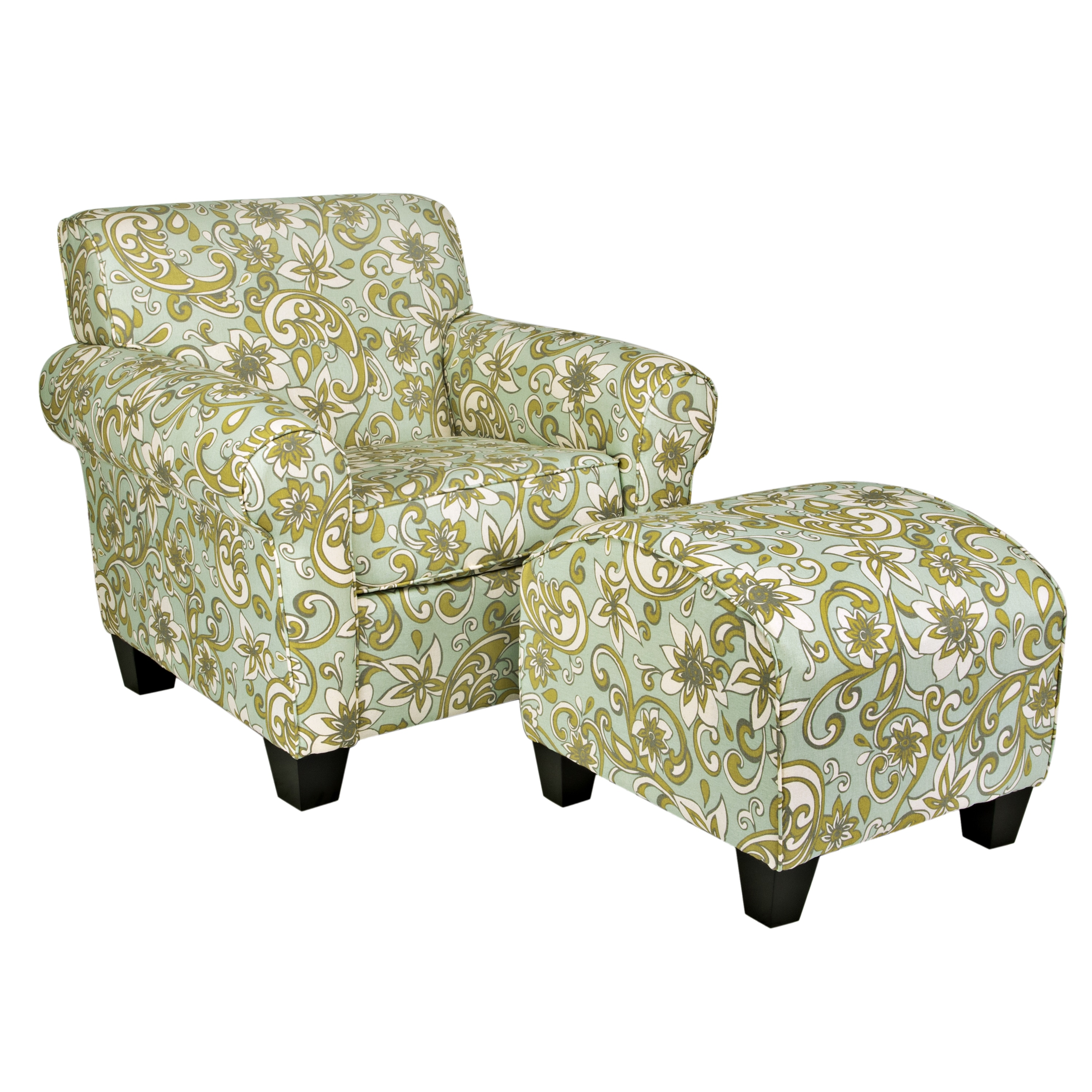 portfolio chair and ottoman floating high mira lily floral blue free