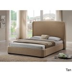 Baxton Studio Sheila Linen Modern Queen Size Bed With Upholstered Headboard Overstock 8006573