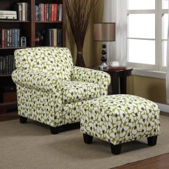 Portfolio Chair And Ottoman With Tablet Arm Canada Mira Apple Green Modern Floral