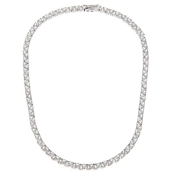 Shop Kate Bissett Silvertone Trillion-cut Cubic Zirconia