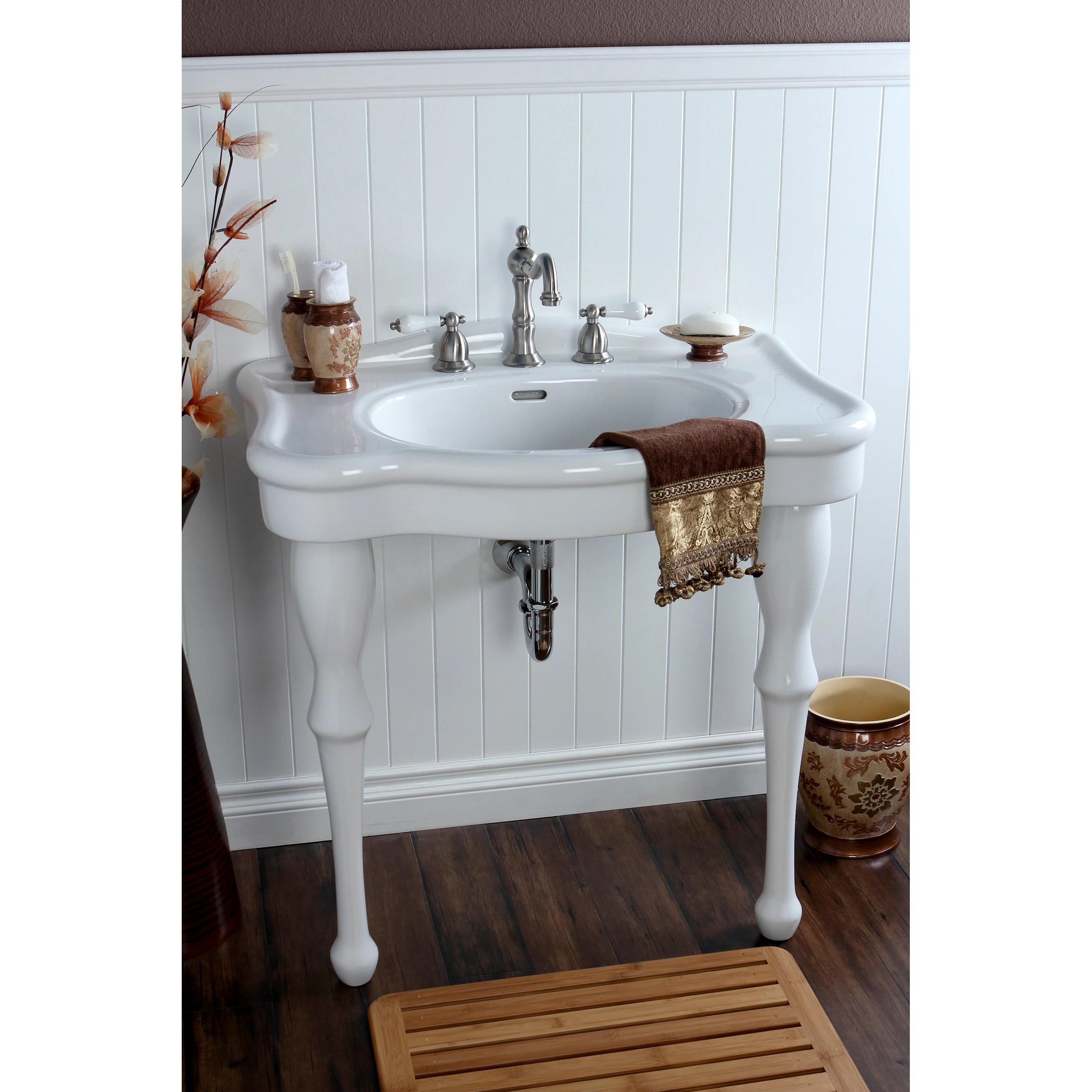 Shop Vintage 32 Inch For 8 Inch Centers Wall Mount Pedestal Bathroom Sink Vanity Overstock 8036002