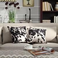 Black and White Faux Cow Hide Print Decorative Pillows ...