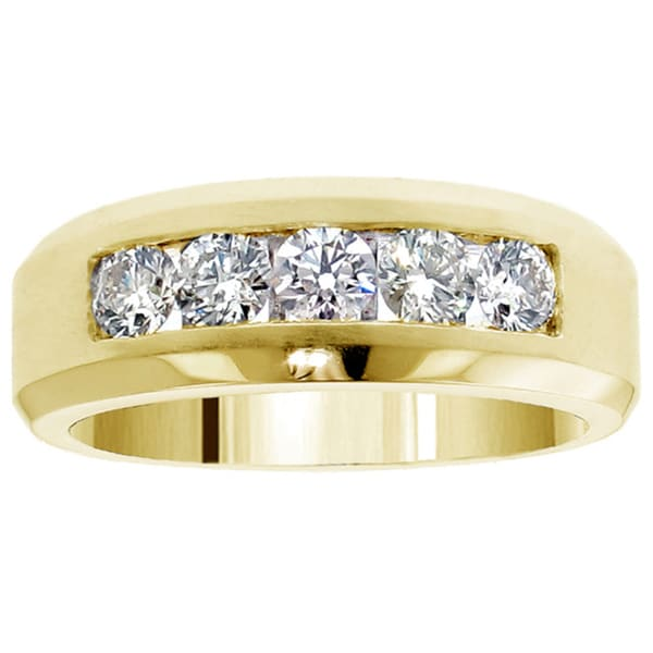 Shop 14k Or 18k Gold 110 Ct TDW Mens Diamond Five Stone