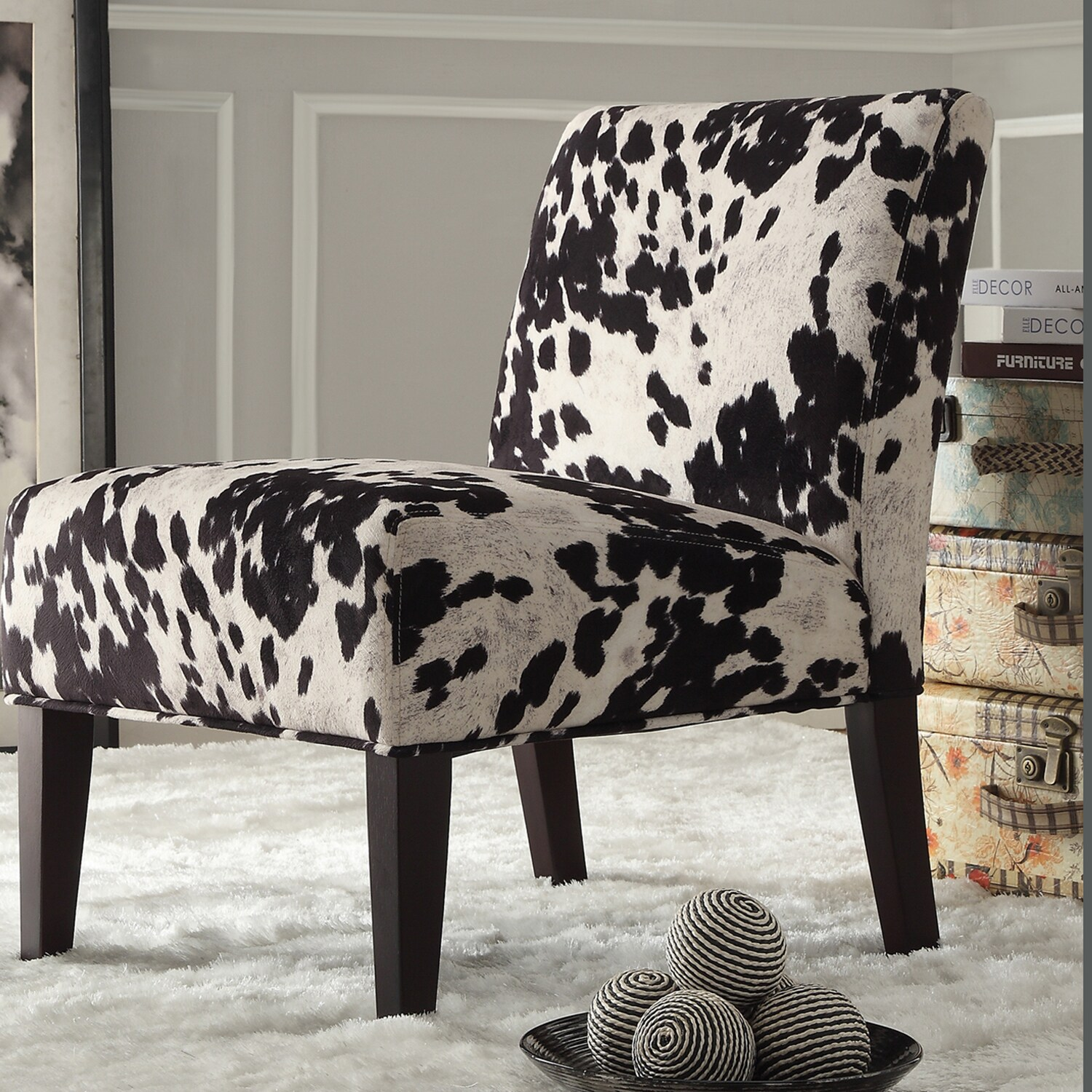black and white cowhide chair contemporary desk chairs inspire q faux cow hide fabric accent