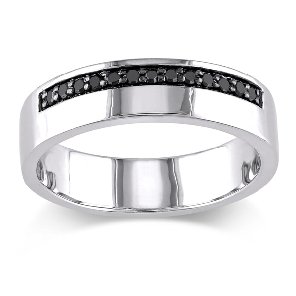 Shop Miadora Sterling Silver Mens 15ct TDW Black Diamond