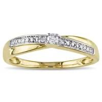 Shop Miadora 10k Yellow Gold Diamond Promise Ring - On ...