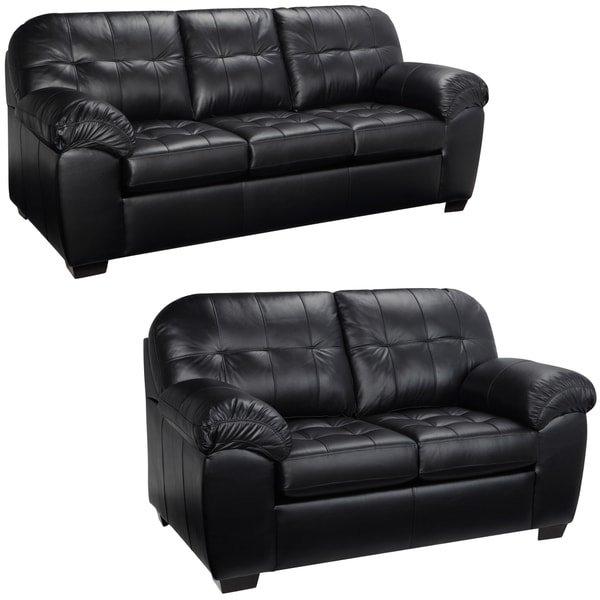 tribecca home eland black bonded leather sofa set simmons sectional cover emma italian and loveseat - 15442181 ...